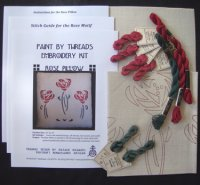 Rose Pillow Embroidery Kit (Silk Thread)