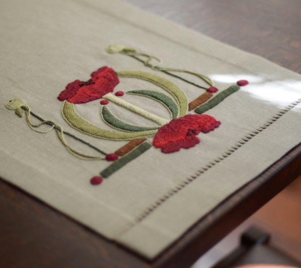 Poppies Table Scarf Embroidery Kit - Click Image to Close