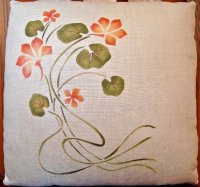 Stenciled Nasturtium Pillow