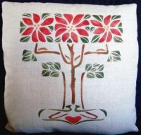 Stenciled Poinsettias Pillow