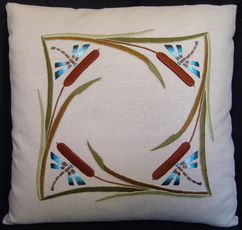 Cattails & Dragonflies Pillow