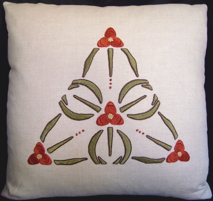 Spiderwort Pillow Embroidery Kit (Red)