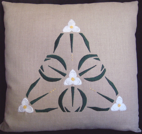 Spiderwort Pillow (white color-way)
